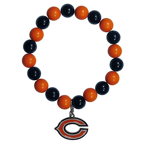 Chicago Bears Rubber Bracelet - Siskiyou NFL Chicago Bears Fan Bead Bracelet, Medium