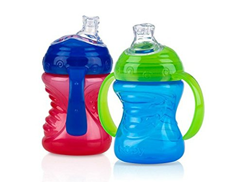- Nuby 2-Pack Two-Handle No-Spill Super Spout Grip N' Sip Cups, 8 Ounce (Red & Blue)