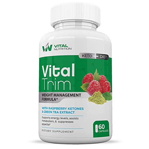 Burn Fat Fast with Vital Trim Weight Loss Pills - Ketogenic Fat Burner for Women & Men - Best Keto Supplement with Raspberry Ketones - Helps Boost Energy & Metabolism - 60 Capsules