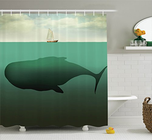 Ambesonne Fantasy House Decor Shower Curtain Set, Surreal Giant Whale In The Middle Of Sea And Little Sailboat On The Surface Print, Bathroom Accessories, 69W X 70L Inches, Green (Surreal Fantasy Art)
