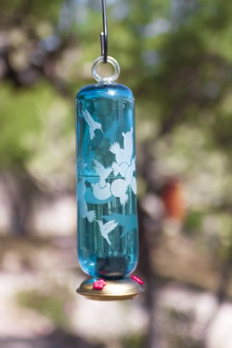 Parasol - AQUA FILIGREE FESTIVAL ~ HUMMINGBIRD FEEDER - Hand Blown Glass - FILFSETCL