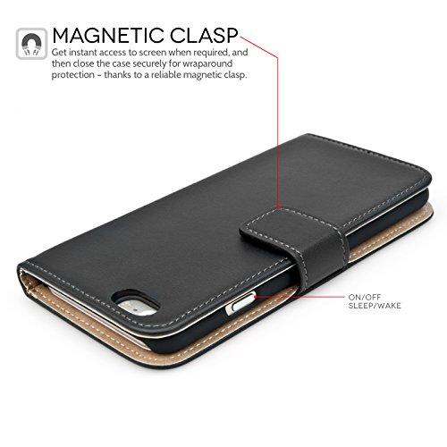 Caseflex iPhone 6 / 6S Tasche Schwarz Echt Leder Brieftasche Hülle.