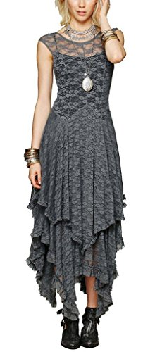 [R.Vivimos® Women Lace Asymmetrical Long Dresses + Lining 2 Piece Large Grey] (Hippie Dress)
