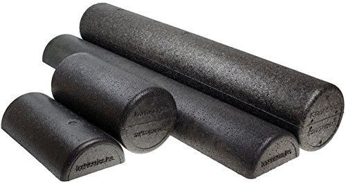 "Isokinetics Inc. Black High Density Foam Rollers Extra Firm for Exercise and Therapy 6"", 12"", 18"" & 36"" Lengths, Round & Half Round"
