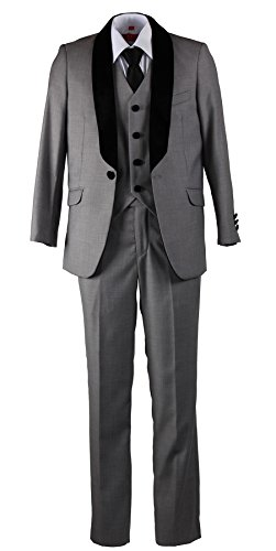 Boys Slim Fit Grey 5 Piece Suit with Velvet Lapel (7) by Tuxgear