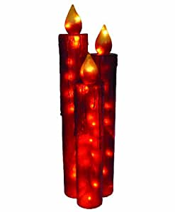 Barcana 48-Inch Illuminated Fiberglass Red Frosted Candle Trio Christmas Light