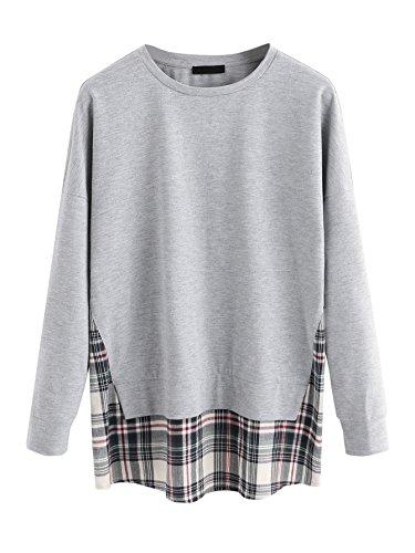 MAKEMECHIC Womens Fall Casual Long Sleeve Sweatshirt Contrast Tunic Top