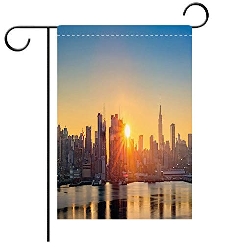 (BEICICI Artistically Designed Yard Flags, Double Sided City Tranquil Sunrise at Midtown Manhattan United States NYC Waterfront America Pale Blue Peach Tan Best for Party Yard and Home Outdoor)