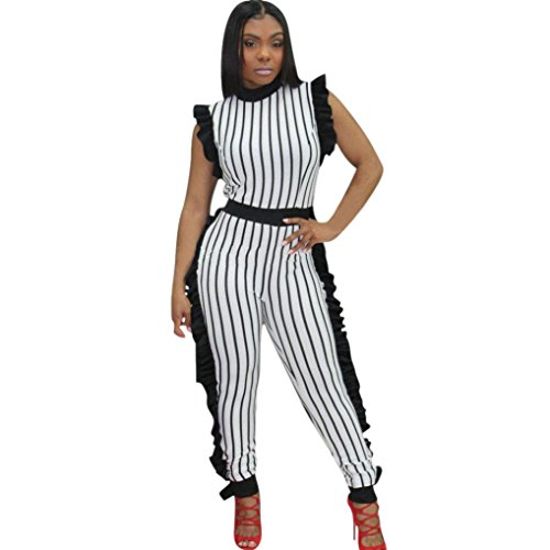 SUKEQ Sexy Women Striped Sleeveless Ruffled Jumpsuit High Waist Long Pants Club Party Casual Jumpsuit Romper (Large, - Sleeveless Jumper