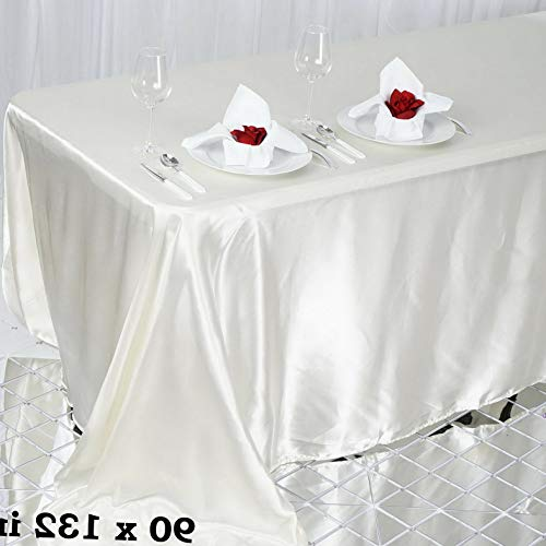Mikash 6 pcs 90x132 Satin Rectangular TABLECLOTHS Wedding Party Catering Decorations | Model WDDNGDCRTN - 18887 |]()