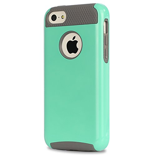 iPhone 5C Case,by Ailun,Soft TPU Bumper&Hard Shell Solid PC Back,Shock-Absorption&Anti-Scratch Hybrid Dual-Layer Slim Cover,Siania Retail Package[Mint Green]