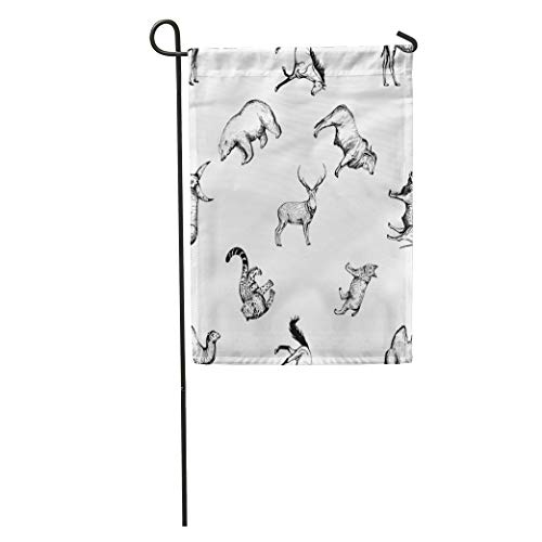 Semtomn Garden Flag Pattern of Sketch Animals Cat Ankole Arctic Bear Big Black Home Yard House Decor Barnner Outdoor Stand 28x40 Inches Flag