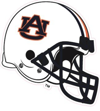 (4 Inch Tigers Football Helmet Auburn University Tigers AU Logo Removable Wall Decal Sticker Art NCAA Home Room Decor 4.5 by 3.5 Inches)