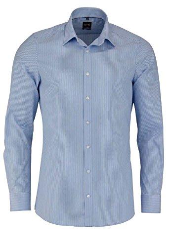 OLYMP Level Five body fit Hemd extra langer Arm Streifen hellblau AL 69