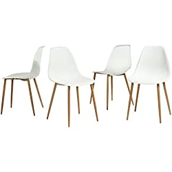 GreenForest Eames White Dining Chair, Metal Wood Legs Plastic Seat and Back for Dining Room Chairs, Sets of 4