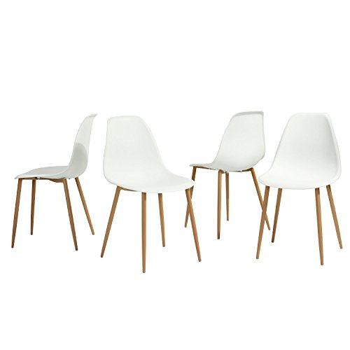 GreenForest Dining Chairs Set of 4, Eames Modern Style Metal & Wood Legs Kitchen Chair Plastic Seat and Back Living Room/Dining Room Chairs Set of 4 (White)