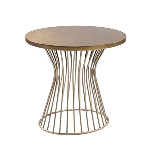 Mid Century Modern Golden Bronze Oval Accent End Side Table with Metal Wire Frame Base - Includes Modhaus Living Pen Golden Bronze Accent