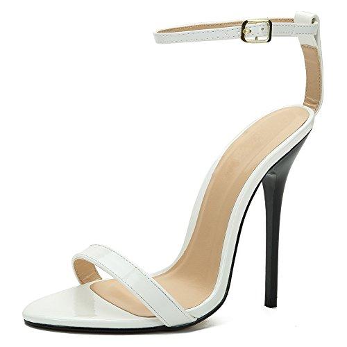fereshte Women's Men's Ankle Strap Stilettos High-Heeled Sandals White Id9JQT5