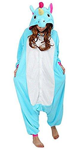 Lava-ring Fleece Blue Unicorn One Piece Footed Pajamas