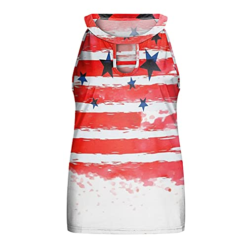 CloudLg Women's Halter Tops Printing Sleeveless Tank Top Loose Fit Shirts Cut Out Summer Blouse Sexy Back Tanks