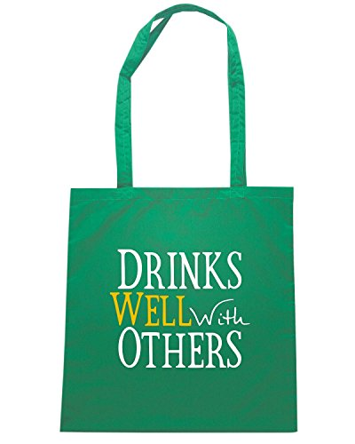 T-Shirtshock - Bolsa para la compra TIR0040 drinks well with others dark tshirt (1) Verde