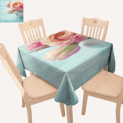 - UHOO2018 100% Polyester Tablecloth Pink Flowers in a vase Square/Rectangle Multicolor,52x 52 inch