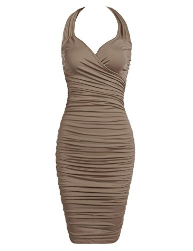 Dress Ruched Slip Sexy (Bifast Ladies Autumn Sexy Tank Slip Dress Exotic Ruched Engagement Midi Dress)