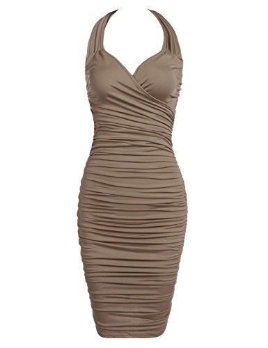Slip Dress Sexy Ruched (Bifast Ladies Autumn Sexy Tank Slip Dress Exotic Ruched Engagement Midi Dress)