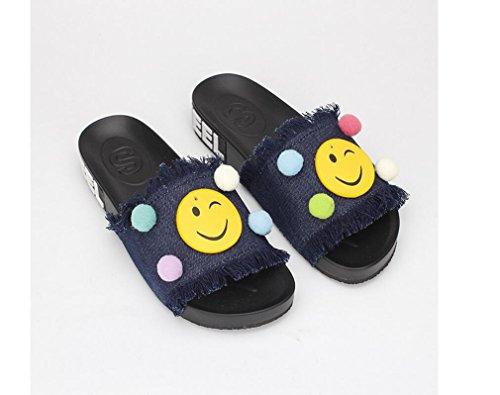 Beauqueen Chaussons Femme Été Denim talon plat PU Sourire Sandals Visage Boule Couleur Bleu foncé , 40