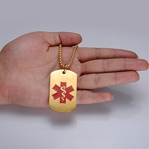 Comfybuy CF Free Engraving Blank Stainless Steel Medical Alert Disease Awareness Identification Necklace Gold Military Dog Tag Pendant,Emergency SOS Daily Life Saver for Kids,Grandpa,Grandma,Parents by Comfybuy (Image #6)