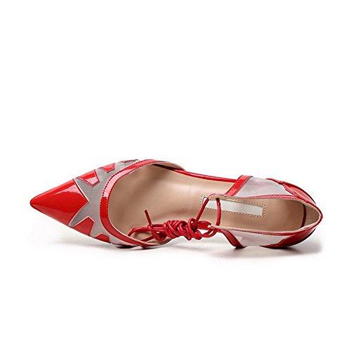 Amoonyfashion Womens Ingen Häl Lackläder Fast Snörning Pekade Sandaletter Röd