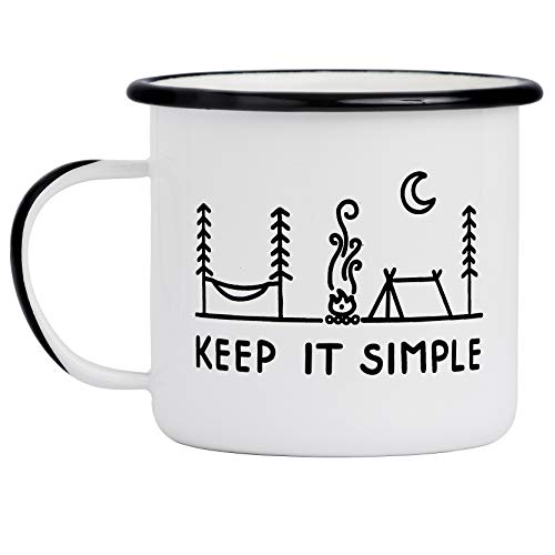 Camp Noggin | Keep It Simple | Enamel Camping Coffee Mug (15 Ounces) | Large Size | Perfect for Coffee, Tea, Beer, Wine, Oatmeal, or Soup
