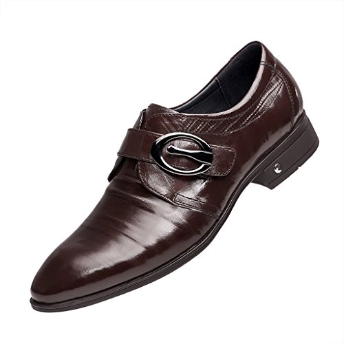 ZRO Men's Brown Oxford Formal Business Dress Shoes with Buckle 8.5 M US by ZRO