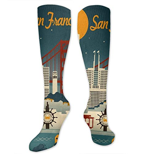 (HFJDLSK San Francisco, California - Retro Skyline Socks Athletic Over The Calf)