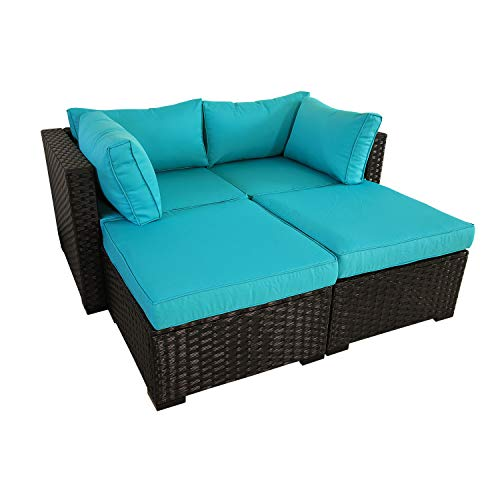 Outdoor PE Rattan Furniture 4 Piece Patio Wicker Sectional Sofa Chair Set Garden Couch Turquoise Cushion