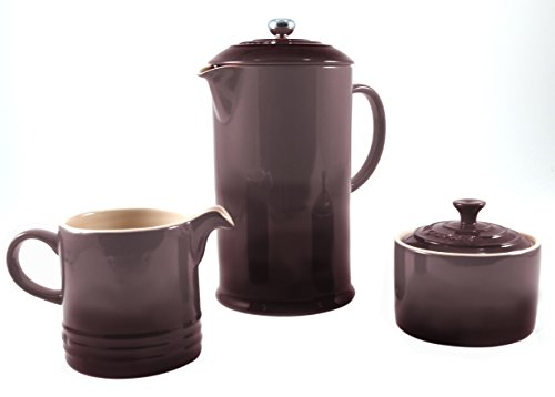 Le Creuset Truffle Stoneware French Press Coffee Maker With Matching Cream and Sugar Set