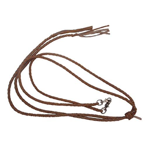 New Western Brown Leather Braided Split Reins with Scissor Snaps