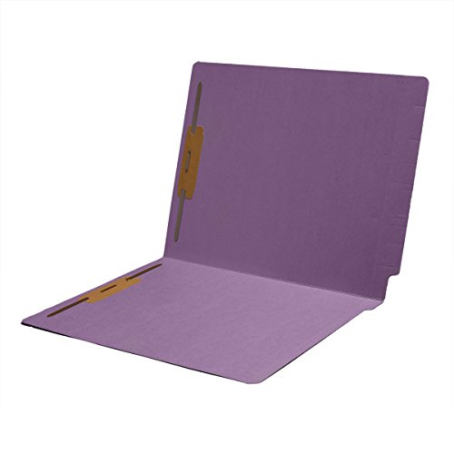 Full Folder Cut Tab Reinforced (11 pt Color Folders, Full Cut 2-Ply End Tab, Letter Size, Fasteners Pos #1 & #3, Lavender (Box of 50))