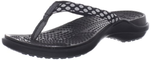 crocs Women's 14386 Capri Polka Dot Flip Flop,Oyster/Black,6 M US
