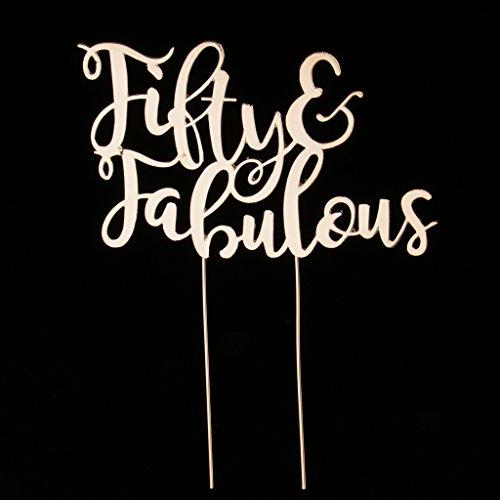 Baoblaze Luxury Fifty & Fabulous Crystal Golden Cake Topper 50th Birthday Decor