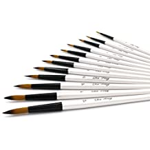YOUSHARES Art Paint Brush Set for Watercolor, Oil, Acrylic Paint/Craft, Face Painting (12 Pcs W/B)