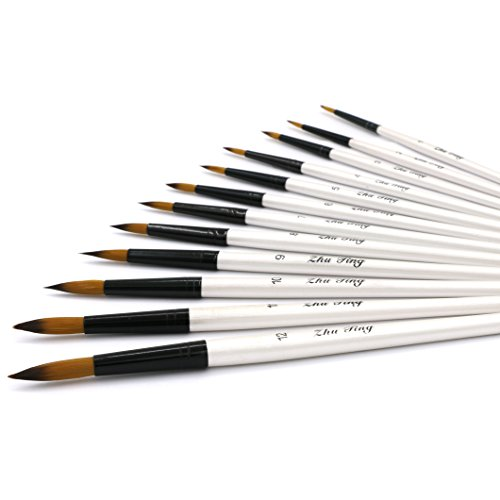 YOUSHARES 12 Pcs Art Paint Brush Set for Watercolor, Oil, Acrylic Paint / Craft, Nail, Face Painting