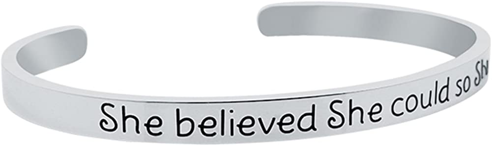 GLAM Inspirational She Believed She Could So She Did Mantra Quote Cuff Bracelet