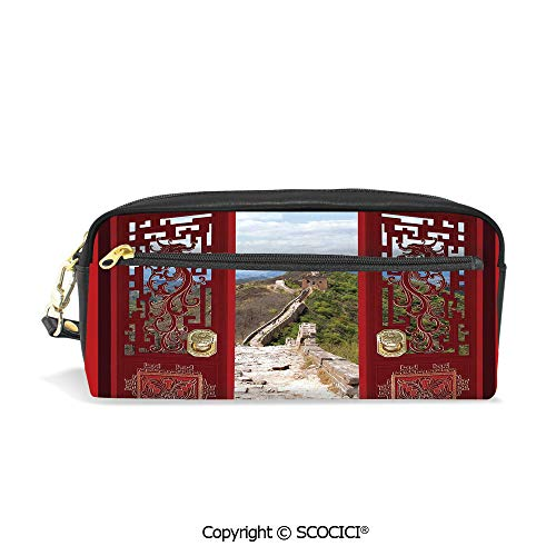 Printed Pencil Case Large Capacity Pen Bag Makeup Bag Gates with Ornament Great Wall of China Famous Historic Structure for School Office Work College ()