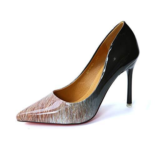 C FLYRCX Chaussures de soirée Sexy Sexy européennes Les Les dames Bien avec des Talons Hauts Pointus Bouche Peu Profonde en Cuir Verni dégradé Chaussures Simples  le meilleur service après-vente