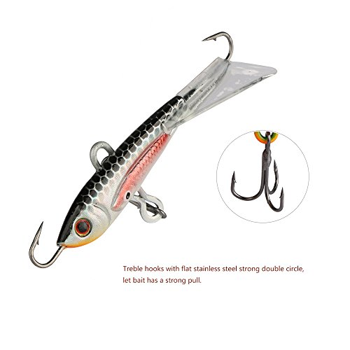 Goture ice fishing jigs with treble hook single hook for for Ice fishing bait