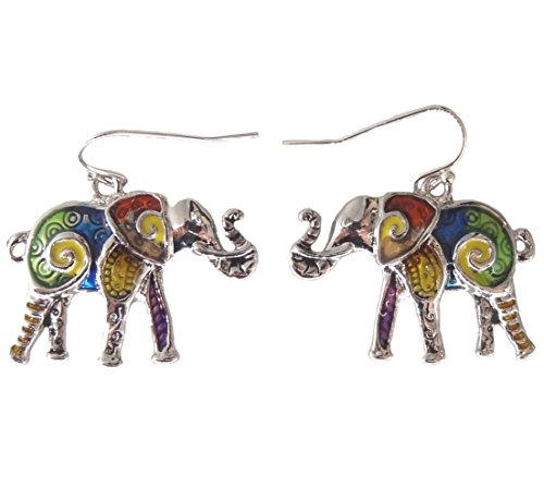 DianaL Boutique Silver Tone Colorful Enameled Lucky Elephant Earrings Gift Boxed Fashion Jewelry