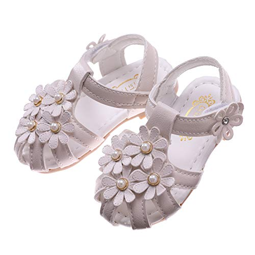 Toddler Baby Girls Summer Princess Soft Leather Sandals Closed Toe Flat Shoes (15/4M US Toddler, Beige White)