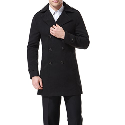 Men's Trenchcoat Double Breasted Overcoat Pea Coat Classic Wool Blend Slim Fit Black