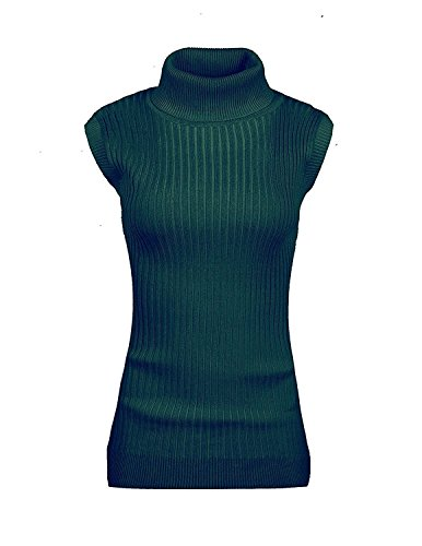 v28 Women's Ladies Juniors Sleeveless Mock Neck Turtleneck Tops Jumper Sweater (M, (Girls Mock Turtleneck Sweater)